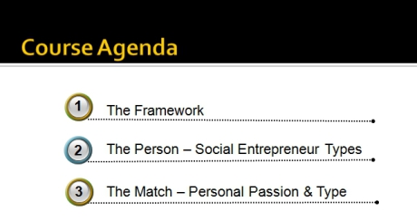 Becoming a Social Entrepreneur - Course Agenda